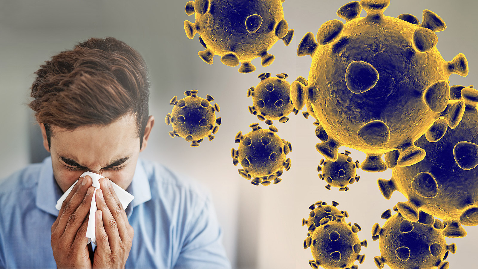 guy coughing with coronavirus spores around him